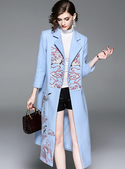 Autumn Notched Plus Size Wool Double-breasted Trench Coat