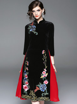 Trendy Mandarin Collar Embroidered Improved Cheongsam Dress