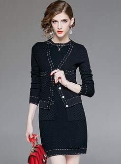 Stylish Sleeveless Knitted Dress & V-neck Cardigan Coat