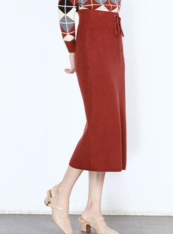 Brief Solid Color Tied-waist Knitted Skirt