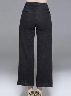 Fashion High Waist Pocket Slim Wide Leg Pants