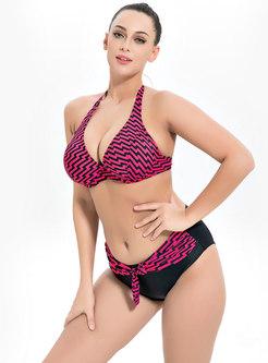 Sexy Print Halter Neck Bowknot Swimwear