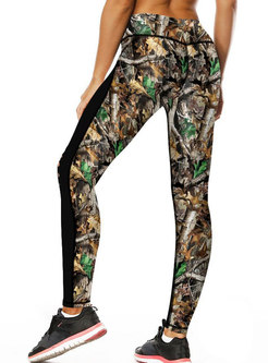 Stylish Print Hollow Out High Waist Yoga Pants