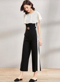 Casual Flouncing High Waist Wide Leg Jumpsuit With Belt