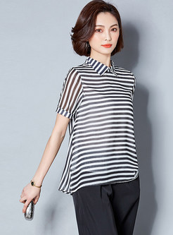 Black Casual Lapel Striped Plus Size Blouse