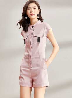 Pink Casual Short Sleeve Rompers
