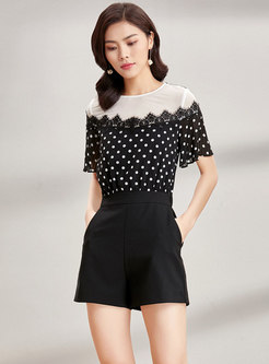 Casual Black Dot Print Stitching Rompers