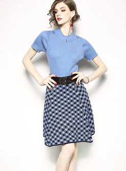 Stand Collar Knitted T-Shirts & Grid Skirt