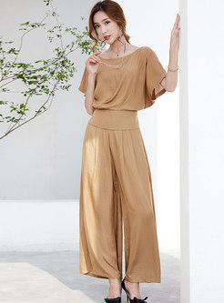 Brief Solid Color O-neck Top & High Waist Wide Leg Pants
