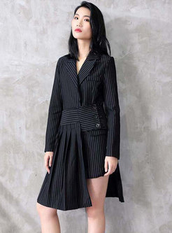 Striped Slim Blazer & Splicing High Waist Asymmetric Skirt