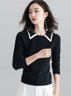 Black Contrast-Collar Long Sleeve Knitted Sweater