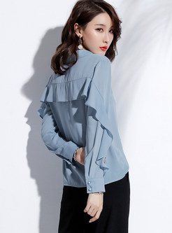 Solid Color Single-breasted Flouncing Chiffon Blouse
