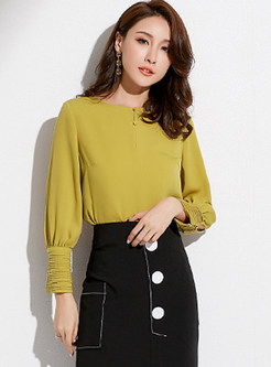 Solid Color O-Neck Pullover Blouse