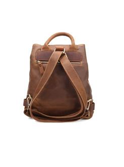 Retro Buckle Closure Brown Backpack