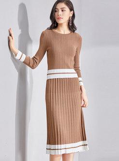 O-neck Long Sleeve Sweater & Knitted Skirt