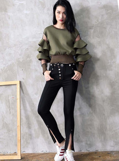Mesh Splicing Layered Sleeve O-neck Perspective Short Sweatshirt