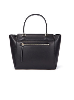 Brief Black Cowhide Top Handel Bag