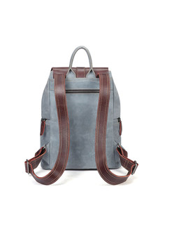 Vintage Color-blocked Backpack With Zippere Pocket