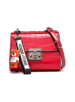 Stylish Red All Matched Clasp Lock Crossbody Bag