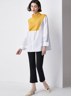 Casual High Neck Sweater Splicing Blouse & Slim Flare Pants