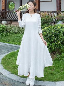 White Vintage Asymmetric Hem Maxi Dress