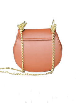 Lichee Pattern Clasp Lock Chain Crossbody Bag