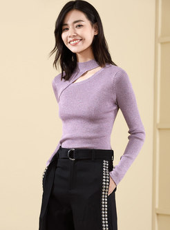 Light Purple Stand Collar Hollow Out Slim Sweater