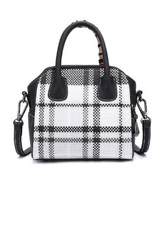 Grid Zipper Bowknot Top Handle & Crossbody Bag