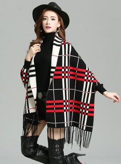 Stylish Plaid Tassel Zip-up Kimono