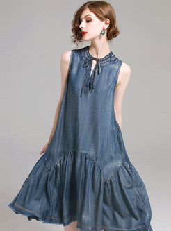 Elegant Tied Sleeveless Denim Big Hem Shift Dress