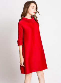 Solid Color High Neck Plus Size Shift Dress