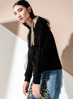 Chic Mesh Splicing O-neck Loose Sweatshirt With Sequins