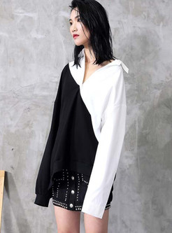 Color-blocked Single-breasted Lapel Pullover Blouse