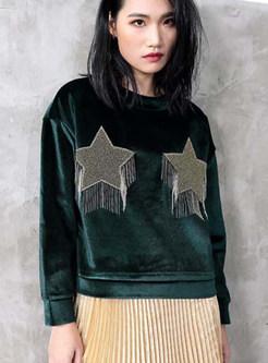 Velvet Solid Color Star Splicing Sweatshirt