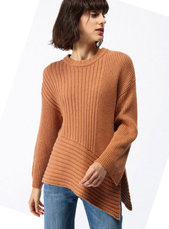 Pure Color Asymmetric Mock Neck Loose Sweater