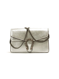 Brief Silver Leather Chain Crossbody Bag