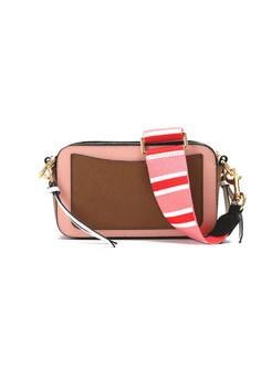 Trendy Wide Strap Color-blocked Cowhide Crossbody Bag