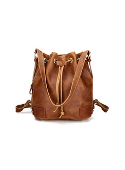 Vintage Cowhide Leather Drawstring Closure Bucket Bag
