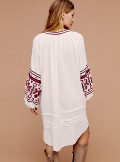 Chic Ethnic Embroidery Loose Shift Dress