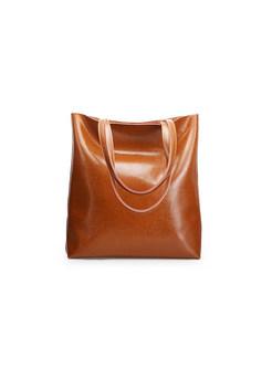 Brief Split Cowhide Tote Bag