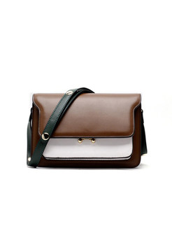 Brief Color-blocked Accordion Crossbody Bag