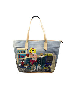 Vintage Embroidery Tote Bag