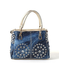 Chic Weave Drilling Top Handle Bag