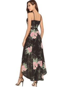 Black Bohemian Printing Maxi Slip Dress