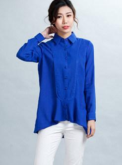 Blue Lapel Long Sleeve Loose Blouse