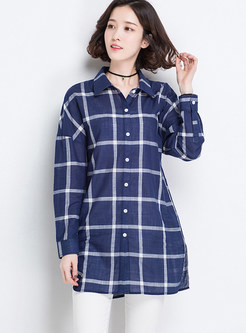 Casual Turn-down Collar Grid Long Blouse