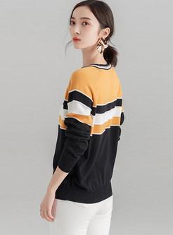 Loose Color-blocked O-neck Pullover Sweatshirt