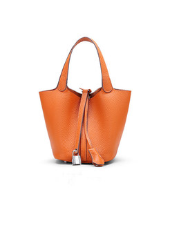 Fashion Orange Genuine Leather Open-top Handle & Bucket Bag