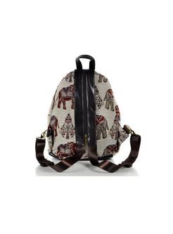 Ethnic Flax Weaving Print Zippered Backpack