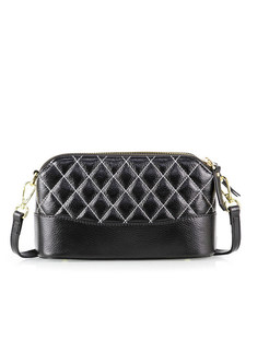 Fashion Lychee Pattern Line Linger Element Crossbody Bag